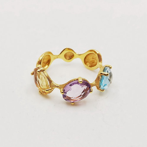 Золотое кольцо Nanis с топазом, аметистом и цитрином