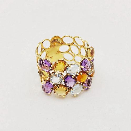 Золотое кольцо Nanis с кварцем, цитрином и аметистом