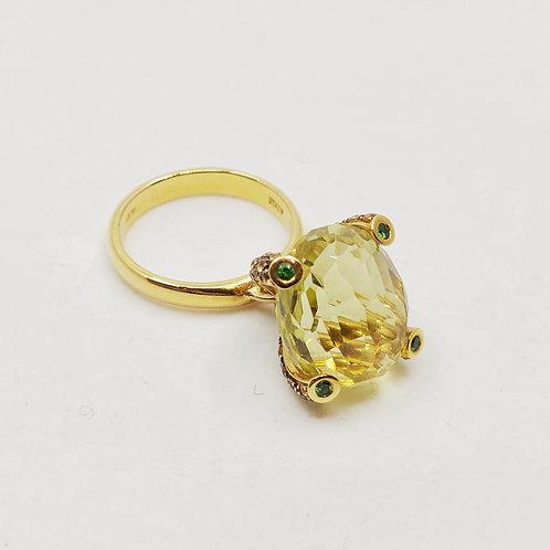 Золотое кольцо Nanis с сапфирами, цаворитом и цитрином
