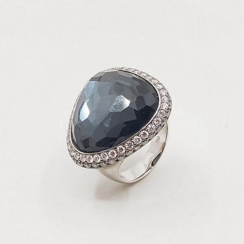Золотое кольцо Sofragem с бриллиантами и гематитом