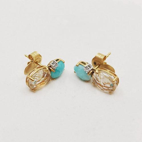 Золотые серьги Nanis с бриллиантами и амазонитом