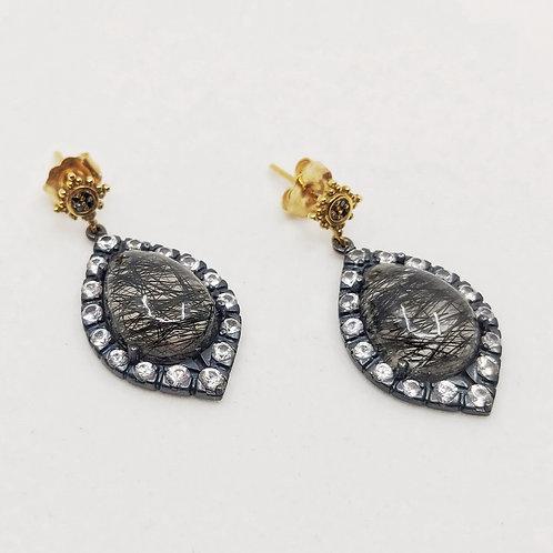 Серьги Jordan Scott с бриллиантами, сапфирами и кварцем