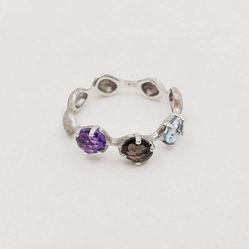 Золотое кольцо Nanis с кварцем, аметистом, топазом