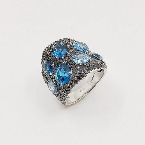Золотое кольцо Sofragem с бриллиантами и топазом