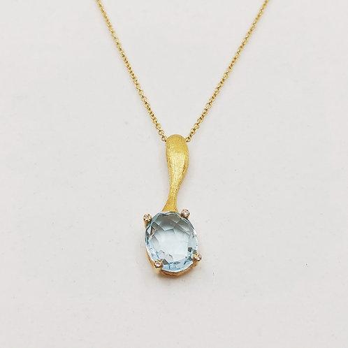 Золотое колье Nanis с бриллиантами, топазом или гранатом