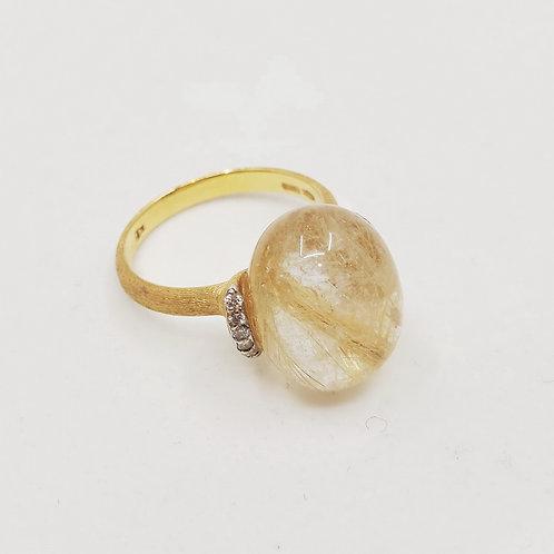 Золотое кольцо Nanis с бриллиантами и рутилированным кварцем