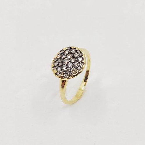 Золотое кольцо Brusi с коричневыми бриллиантами