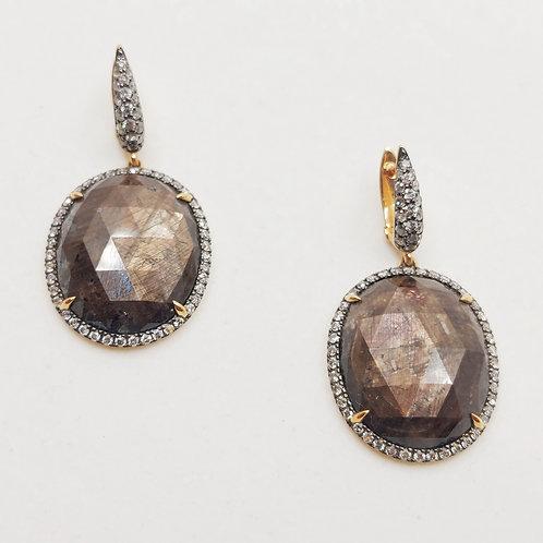 Золотые серьги Sofragem с бриллиантами и сапфирами