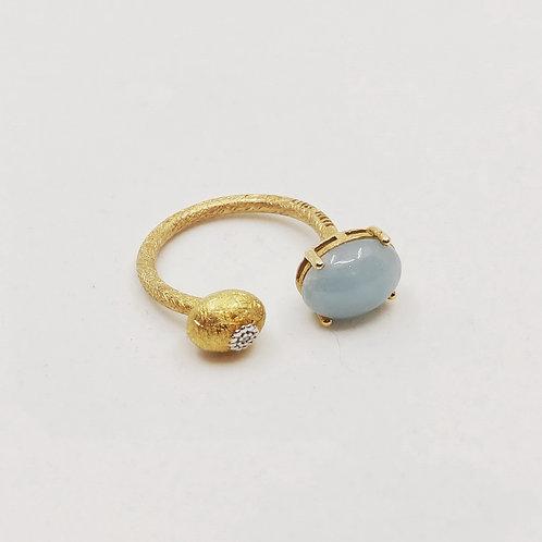 Золотое кольцо Nanis с бриллиантами и аквамарином