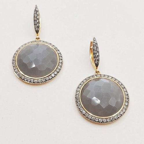 Золотые серьги Sofragem с бриллиантами и лунным камнем