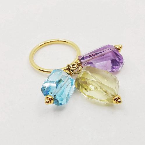 Золотое кольцо Nanis с топазом, аметистом и цитрином или с цитрином и кварцем