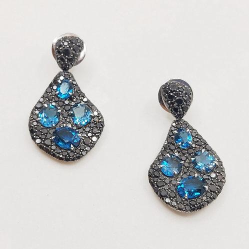 Золотые серьги Sofragem с бриллиантами и топазом