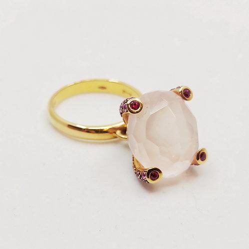 Золотое кольцо Nanis с сапфирами и кварцем