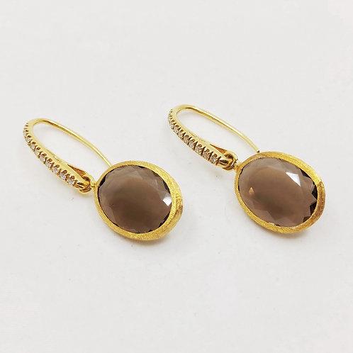 Золотые серьги Nanis с бриллиантами и кварцем