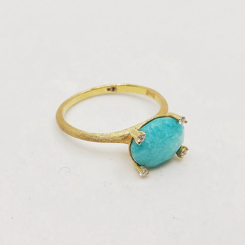 Золотое кольцо Nanis с бриллиантами и амазонитом