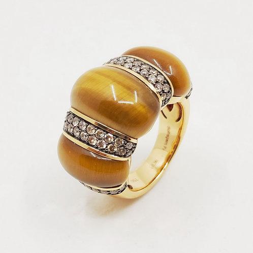 Золотое кольцо Sofragem с бриллиантами и тигровым глазом