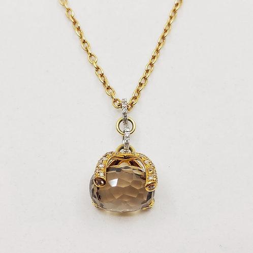 Золотое колье Nanis с бриллиантами и кварцем