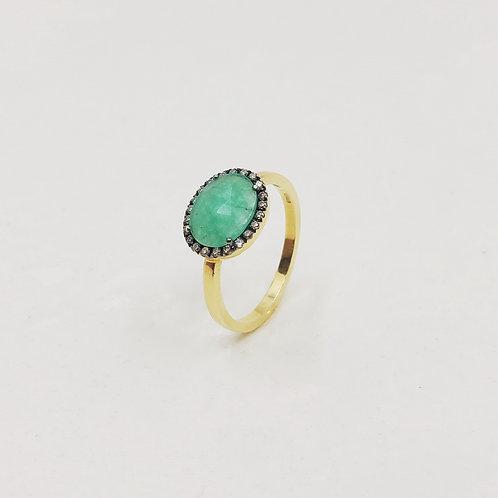 Золотое кольцо Brusi с коричневыми бриллиантами и изумрудом
