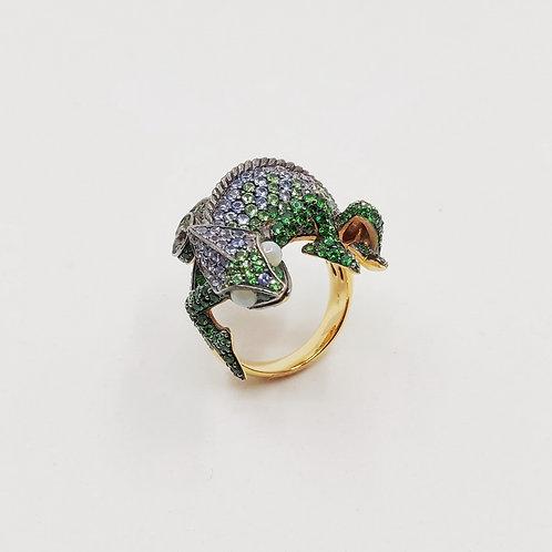 Золотое кольцо Sofragem с сапфирами, кошачьим глазом и цаворитом