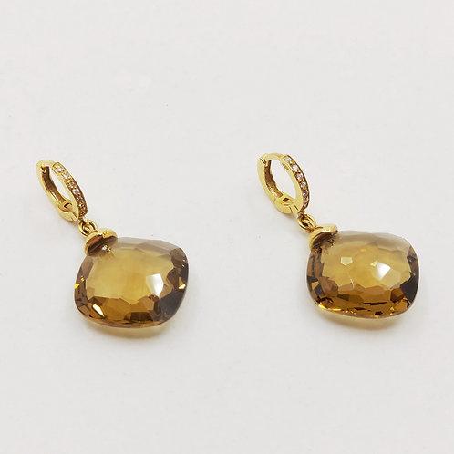 Золотые серьги Brusi с бриллиантами и цитрином