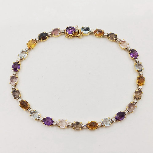 Золотой браслет Nanis с бриллиантами, топазом, цитрином, кварцем и аметистом