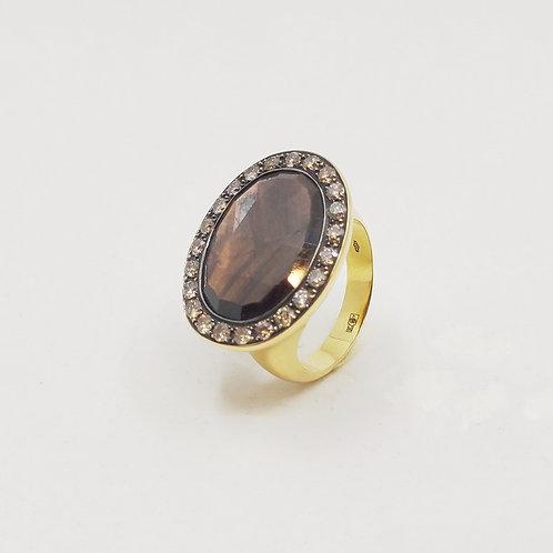 Золотое кольцо Brusi с бриллиантами и сапфирами