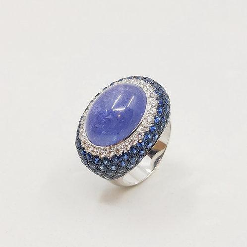 Золотое кольцо Brusi с бриллиантами, сапфирами и танзанитом