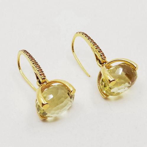 Золотые серьги Nanis с сапфирами и кварцем