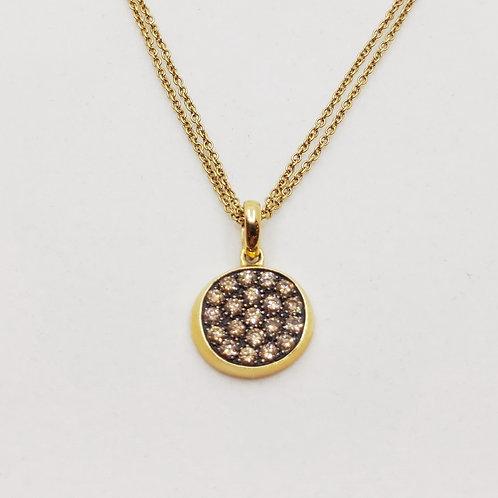 Золотое колье Brusi с бриллиантами и кварцем