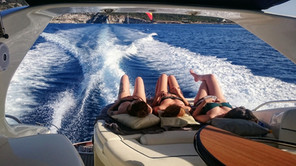 The pleasure of sailing and sunbathing on a boat on Ibiza and Formentera