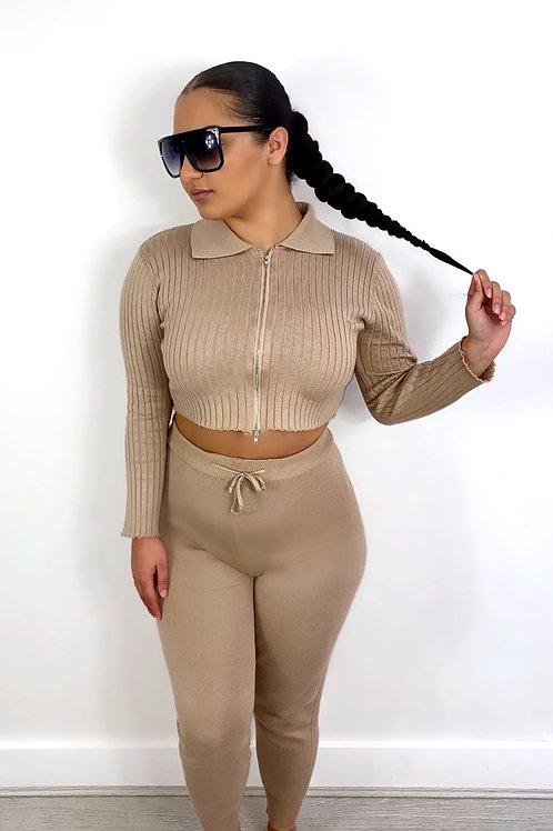 Mocha long sleeve zipped knitted lounge wear