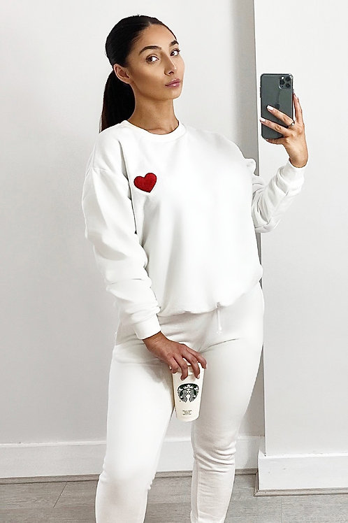 White love heart 2 piece tracksuit
