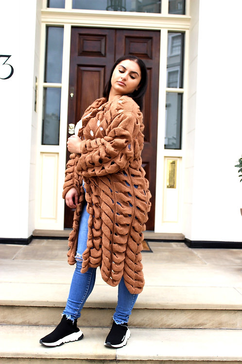 Biscuit coloured oversized knitted Cardigan