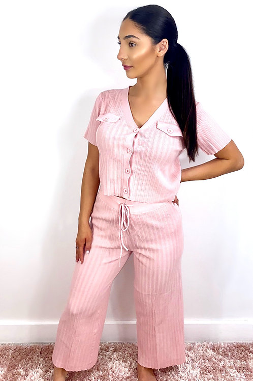 Pink short sleeve knitted lounge wear