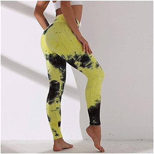 Yellow textured tie dye high waist qym leggings