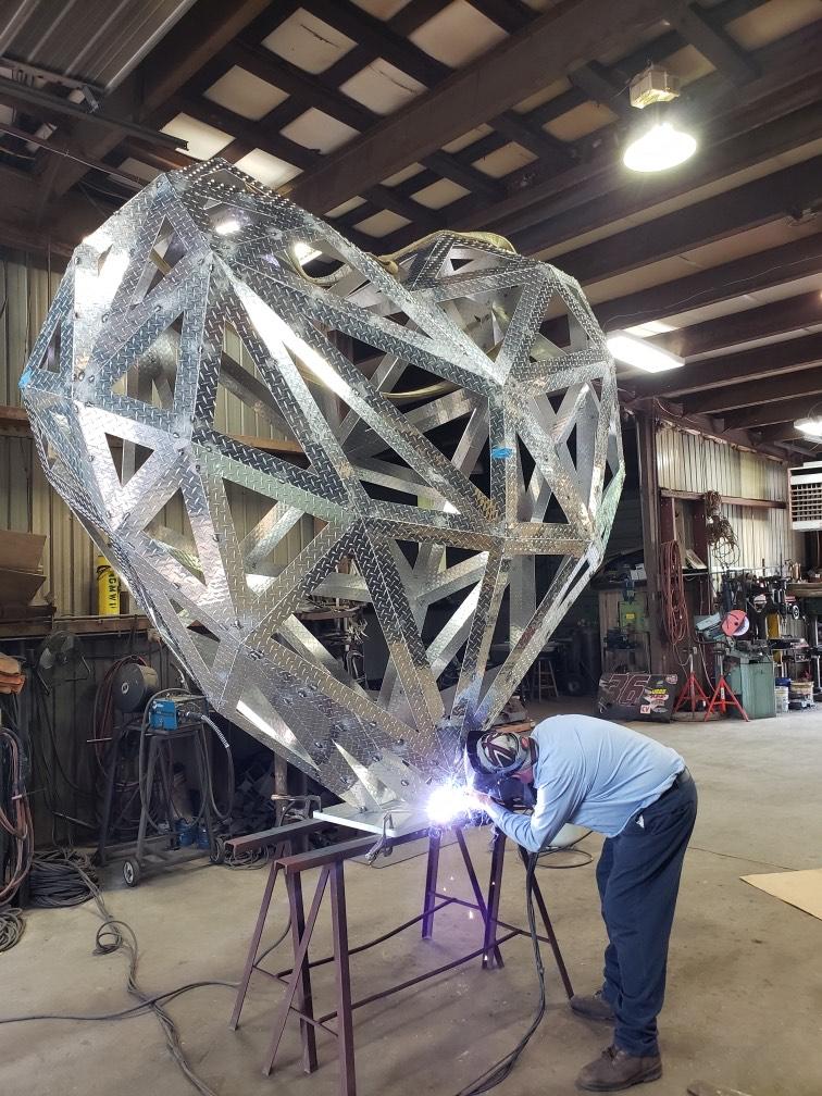 Welding Aluminum Heart Sculpture