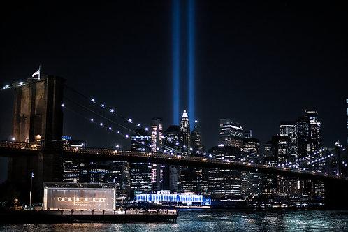 Manhattan Skyline 9/11 Memorial Lights