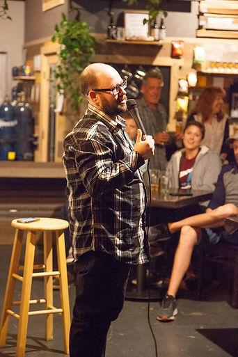 Dan Bublitz Jr performing stand up comedy