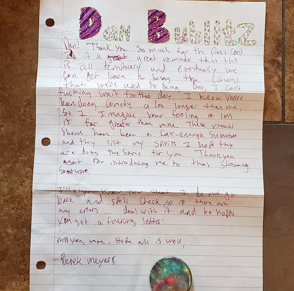 Handwritten Letter with a colorful button