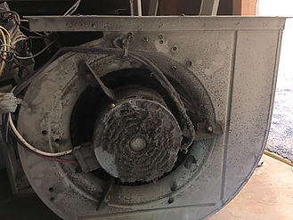 Furnace Blower Motor Cleaning - Before Cleaning - Dirty Furnace Blower Motor