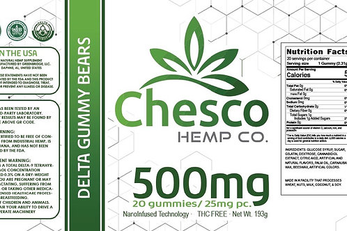 Chesco Delta-8 500mg gummy jar. 25mg each gummy, 20 gummies per jar.