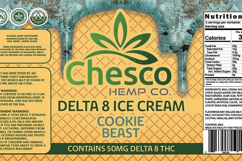 Delta 8 Ice Cream Cookie Beast pint/in store, curbside, local delivery