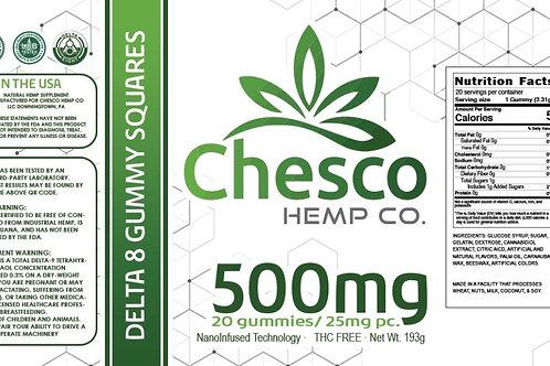 Chesco Delta-8 500mg gummy jar. 25mg each gummy, 20 gummies per jar.