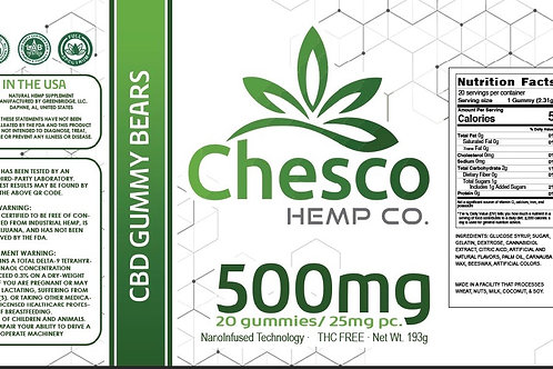 500mg Hemp Extract Nano Tech Bears. 25mg per bear, 20 bears per jar
