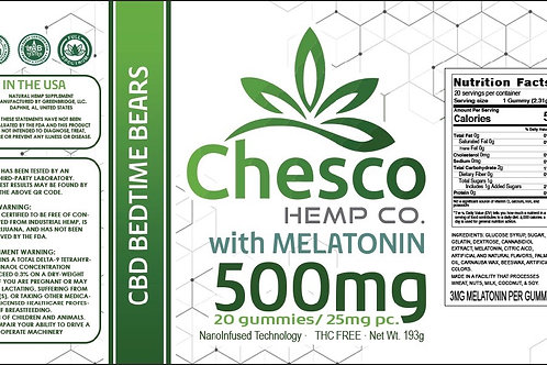 500mg Hemp Extract Bears with melatonin. 25mg hemp/3mg melatonin per bear.