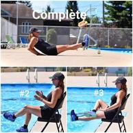 FLOTTAISON ASSISE ET DORSALE La flottaison complète assouplie le dos. La flottaison assise travaille les abdominaux. Même en levant une jambe a la fois (#2), vous engagez les abdominaux. La flottaison assise exige un travail de rotation des mains vers l'intérieur pour conserver la position (#3).  SEATED AND DORSAL FLOATATION Full floatation softens the back. The seated floatation provides abdominal work. Lifting one leg at a time engaged your abs (#2). The seated floatation requires an inward hand motion to maintain the position (# 3).
