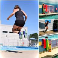 LES SAUTS Si vous avez des restrictions physiques telles au dos ou aux genoux, les sauts seront favorables à l'intérieur de l'eau seulement afin de favoriser l'absence d'impact et aussi contribuer à entraîner votre coeur.  En effet, le rythme cardiaque dans l'eau est 13 pour cent moins élevé qu'à l'extérieur de l'eau à une activité demandant la même énergie.  Si sur terre, votre activité dépenses 100 calories à un rythme cardiaque de 130 battements la minute, dans l'eau l'activité exécutée dépenses 100 calories à un rythme cardiaque de 113 battements par minute (17 battements de moins par minute).  JUMPS If you have physical restrictions such as your back or knees, jumps executed in the water favor less impact and can benefit your heart.   The heart rate in the water is approximately 13 percent lower than it is on land at a similar energy consumption.  Basically, if on land the activity which you are performing consumes 100 calories and your heart is beating at 130 beats per minute, in the water the activity you perform will consume 100 calories, but your heart will only be beating at 113 beats per minute (17 beats less per minutes).
