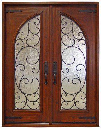 Double Entry Door with Ironwork