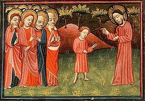 Proper 20 B. Alexander Master, Jesus sets a child among his disciples, Koninklijke Bibliot