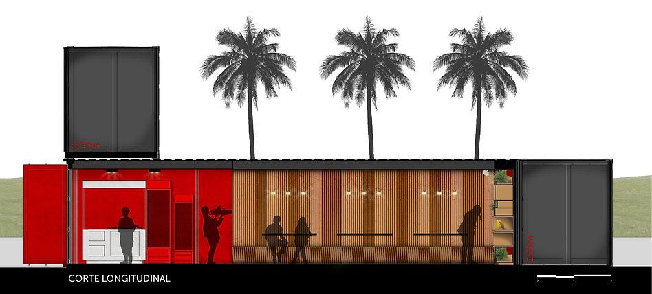 corte longitudinal restaurante container da Casa Construir de 2016